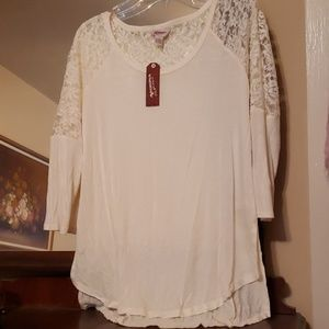 New High Low Ivory Lace Tunic Tee Shirt